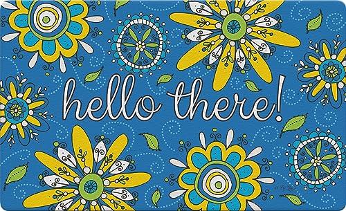 Toland Home Garden Hello Fizzy Flowers 18 x 30 Inch Decorative Flower Floor Mat Colorful Doormat