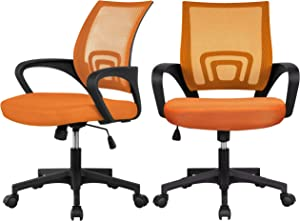 YAHEETECH 2 Pack Mesh Office Desk Chairs, Mid Back Ergonomic Executive Chair, Swivel Chair with Armrests for Meeting Room, Reception Room Orange