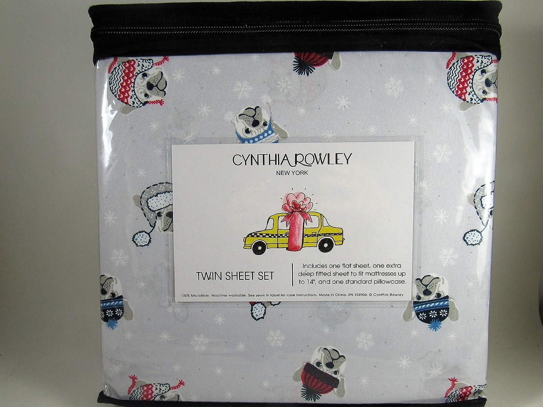 Cynthia Rowley Bull Dogs and Snowflakes Twin Deep Pocket Sheet Set Twin