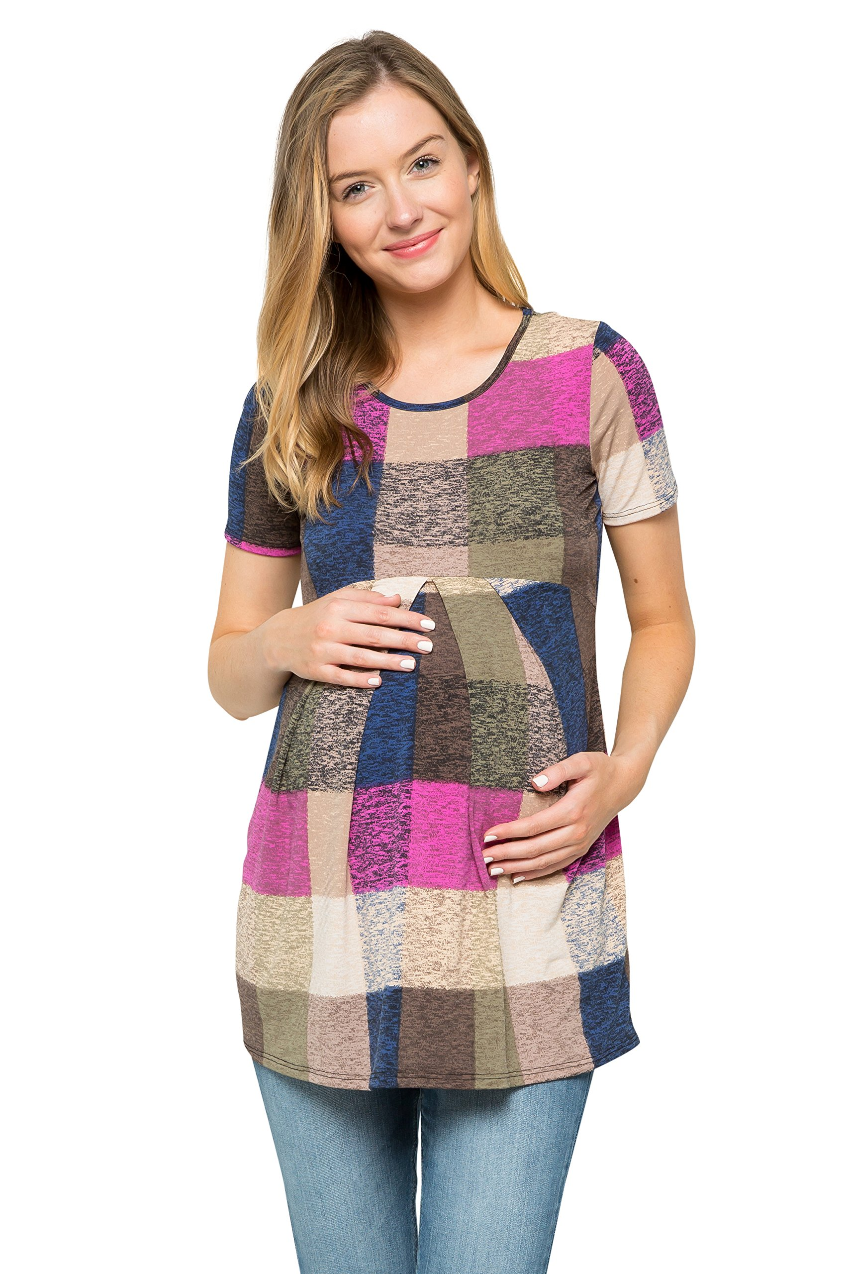 My Bump Women's Maternity Front Pleat Short Sleeve Casual Top(Made in USA) (Small, Magenta/Sand SYAC)