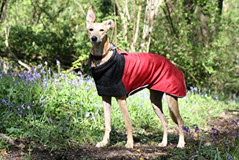 The Trendy Whippet Deep Red and Grey Extreme Weather - Chaqueta de forro polar, diseño