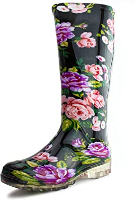 Amazon.com   Easy USA Women's 14 Inch Flwer Print Four-Season Outdoor Rain  Boots (Adults)   Rain Footwear