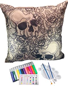 DIY Cute Pillow Cover Coloring Kit - Arts And Crafts For Kids, Adults And Toddlers - 18x18 Decorative Cushion Cover Painting Kit - Cool Home Decoration Or Kids Room Dec (Skulls & Roses)