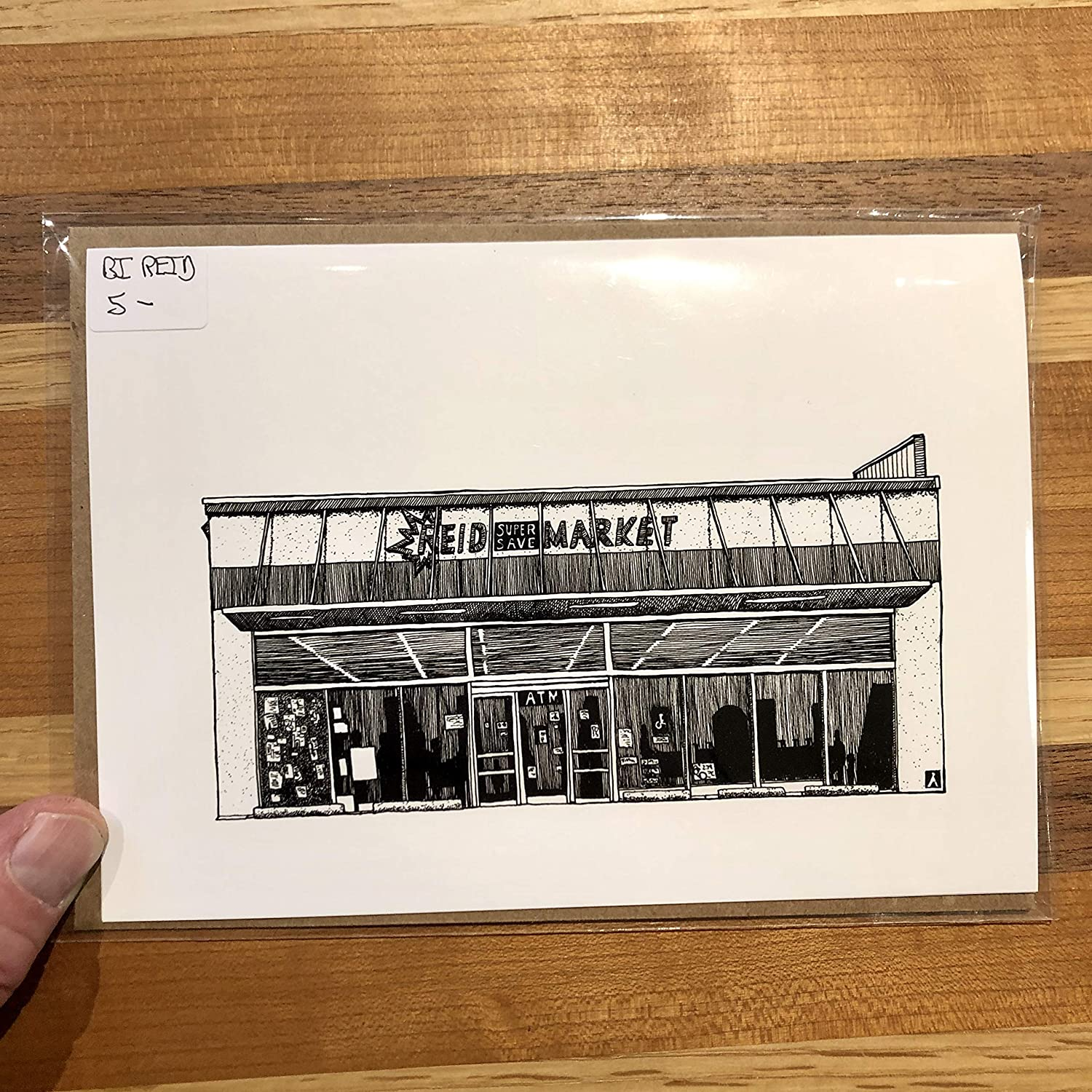 BellavanceInk Greeting Card With A Pen /& Ink Drawing Of Reid Supermarket Grocery In Charlottesville 5 x 7 Inches