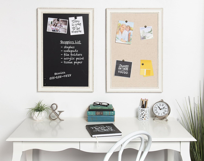 DesignOvation Macon Framed Linen Fabric Pinboard, 18x27, Soft White ...