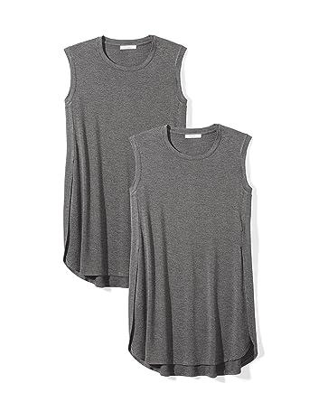 7d09383399351e Amazon Brand - Daily Ritual Women's Jersey Sleeveless Tunic, Charcoal  Heather Grey/Charcoal Heather