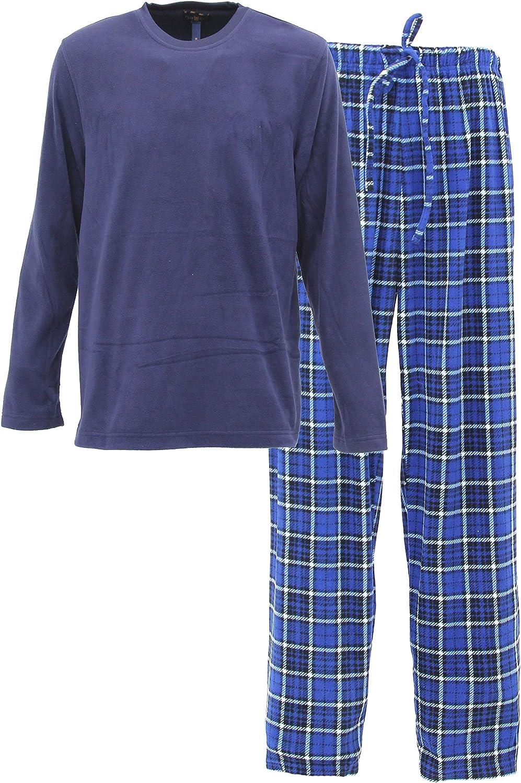 Club Room Mens Long Sleeve Top and Pants Fleece Pajama Set