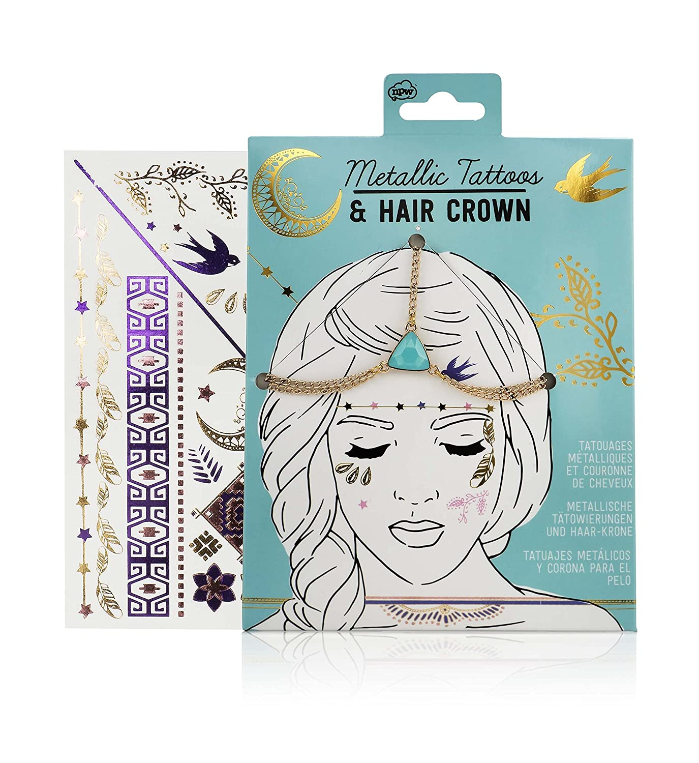 Amazon Com Npw Usa Metallic Temporary Tattoos And Hair Crown Beauty
