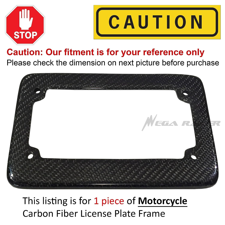 Universal 100/% Carbon Fiber Motorcycle Rear License Plate Frame Holder Black 3D Twill Weave Tag USA Scooter Chopper Bike