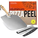 OUII Aluminum Pizza Peel 12''x14'' and Pizza Cutter 14'' Rocker Style Blade. Metal Pizza Spatula Long Handle, for Indoor and
