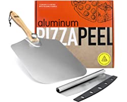 OUII Pizza Peel Aluminum Metal Pizza Paddle 12 x 14 inch - Pizza Cutter 14'' Rocker Blade Pizza Spatula for Pizza Stone, Pizz
