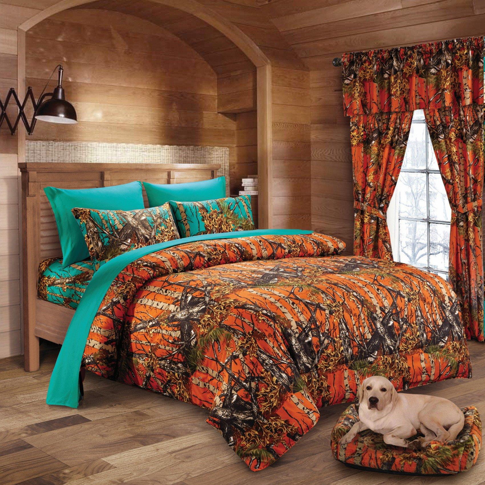 20 Lakes Hunter Camo Comforter, Sheet, Pillowcase Set (Full, Orange & Teal)