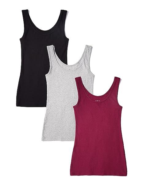a81f602669e5 Iris & Lilly Canotta in Cotone Modale Soft Stretch Donna, Pacco da 3,  Multicolore