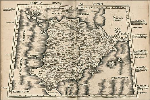 24 x 36 Póster; Ptolomeo mapa de España 1513; Diseño de madera ...