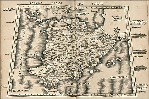 24 x 36 Póster; Ptolomeo mapa de España 1513; Diseño de madera envejecida con árbol: Amazon.es: Hogar