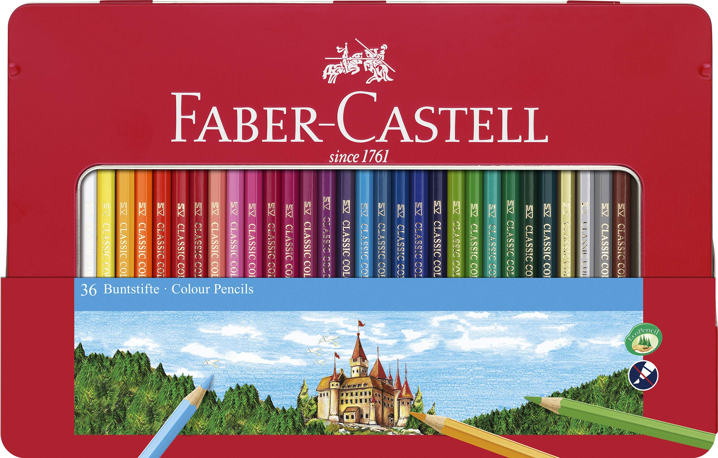 Faber-Castell Classic Colored Pencils Tin Set, 48 Vibrant Colors in Sturdy Metal Case by Faber-Castell