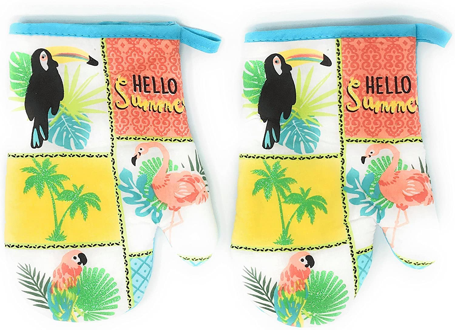 Coastal Living Seascapes Cotton Oven Mitt Set, Set of 2 (Parrots & Flamingo)
