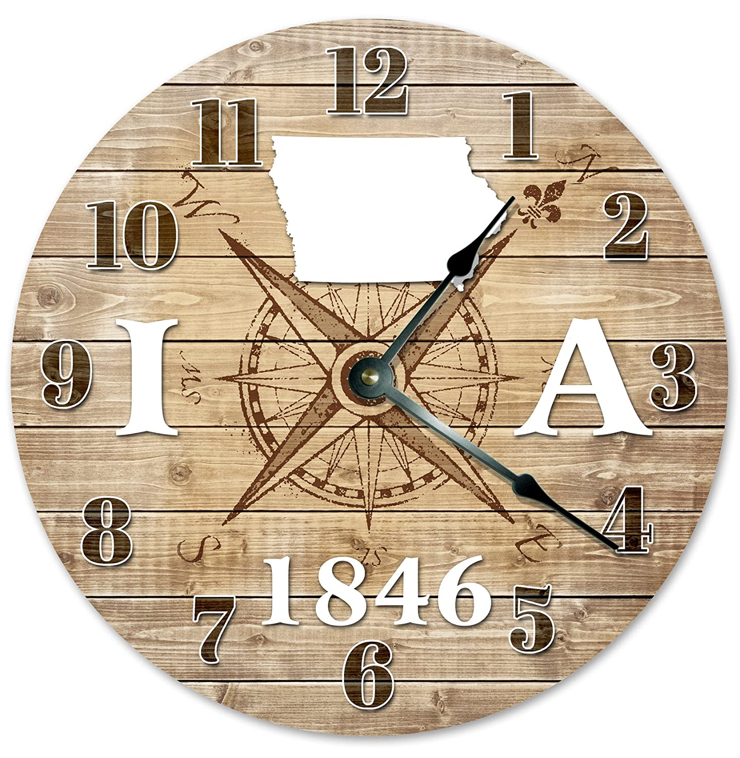 IOWA CLOCK Established in 1846 Huge 15.5 to 16 COMPASS MAP RUSTIC STATE CLOCK Printed Wood Image