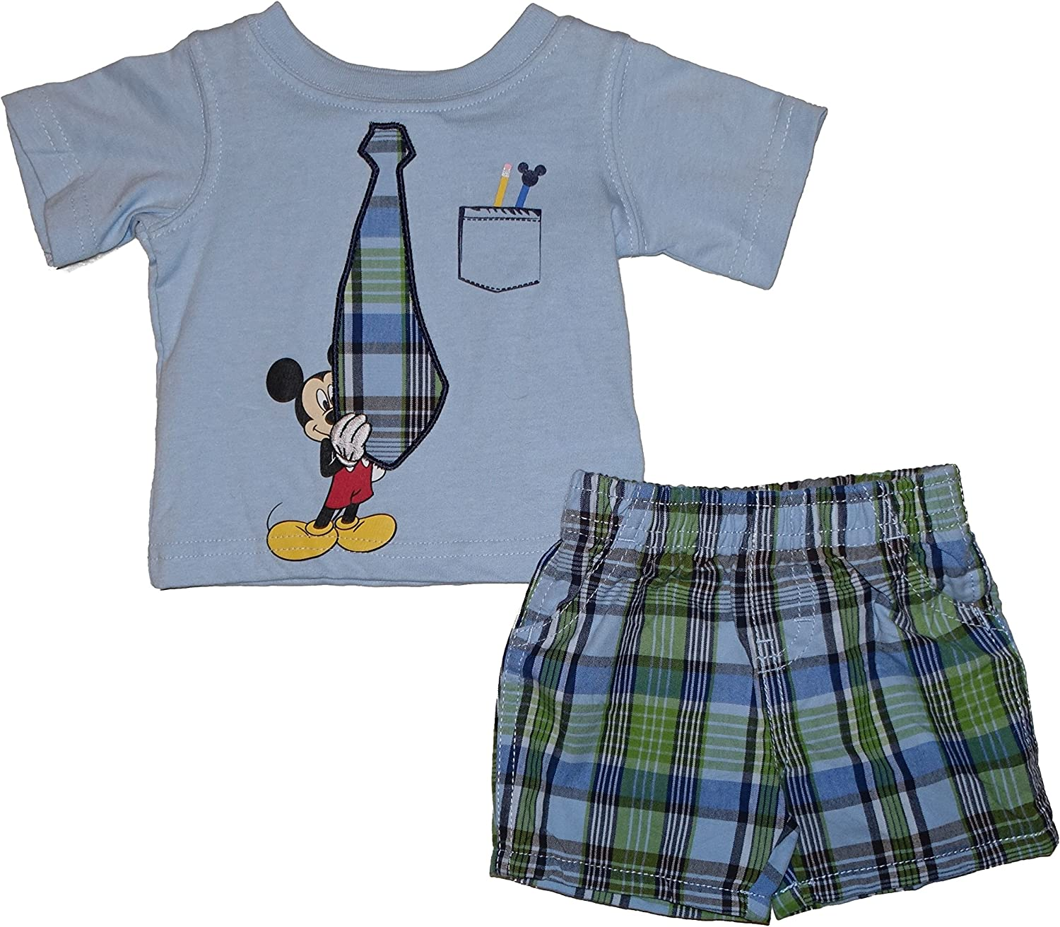 Disney Mickey Mouse 2 Piece Embroidered Tie T-Shirt and Shorts Set