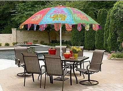 Sombrilla de jardín de algodón al aire libre multicolor Sombrilla de elefante de elefante para cafetería Cafe 177 x 228 Cm: Amazon.es: Iluminación