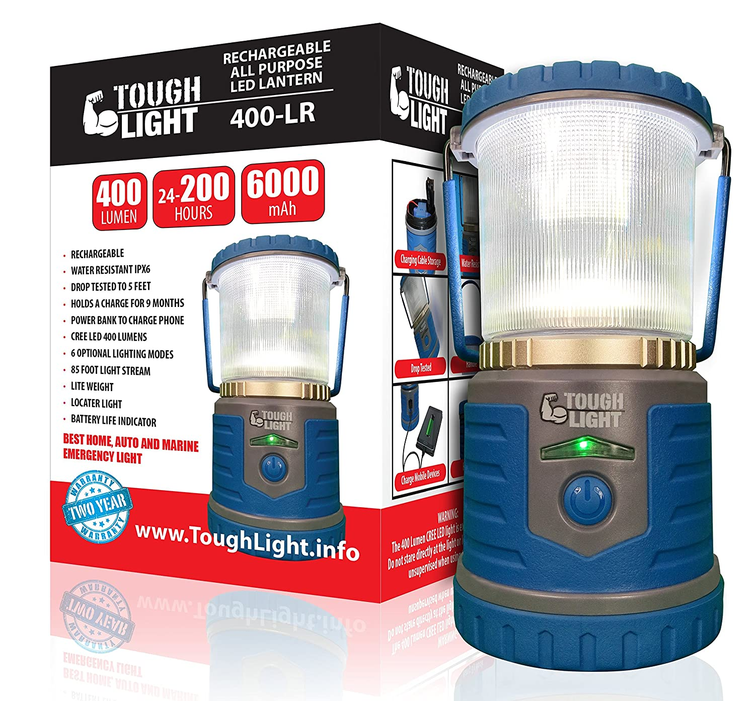 Tough Light LED Rechargeable Lantern – 200 Hours of Light from a Single Charge, Longest Lasting on Amazon Camping and Emergency Light with Cell Phone Charger – 2 Year Warranty