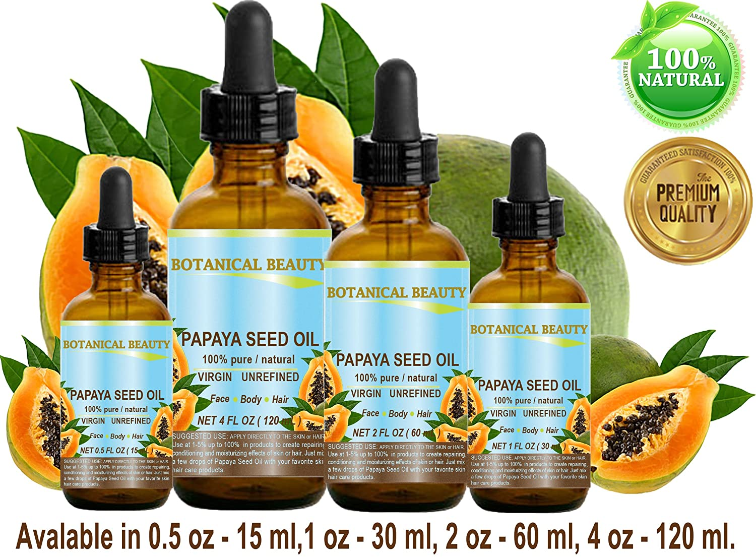 PAPAYA SEED OIL WILD GROWTH. 100 Pure Natural Undiluted Virgin Unrefined Cold Pressed Carrier Oil. For Skin, Hair, Lip and Nail Care 4 Fl. oz. – 120 ml.