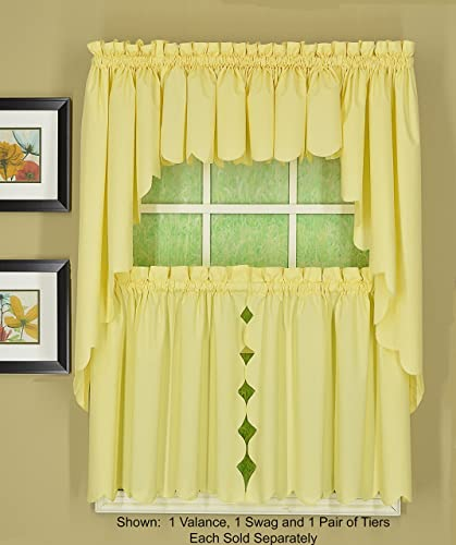 Today s Curtain Orleans 38 Swag Pair Tambour Scallop Edge Curtain, Buttercup, 60 W X L