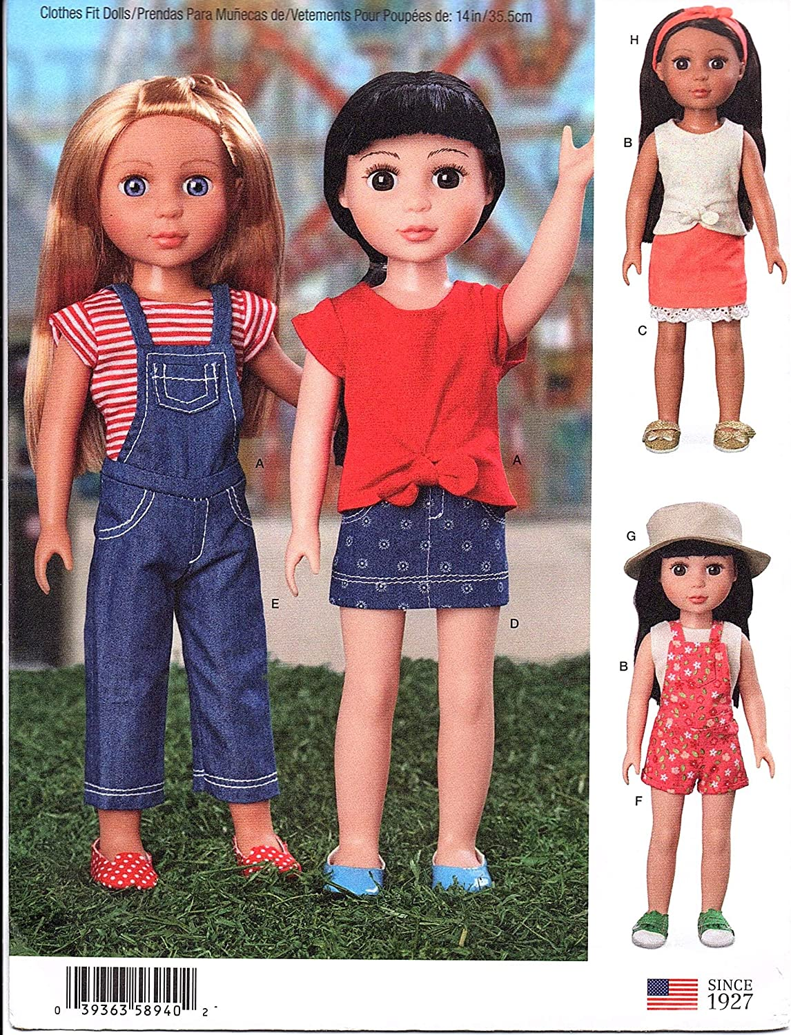 White Various Simplicity US8940OS Sewing Pattern S8940 14 Doll Clothes