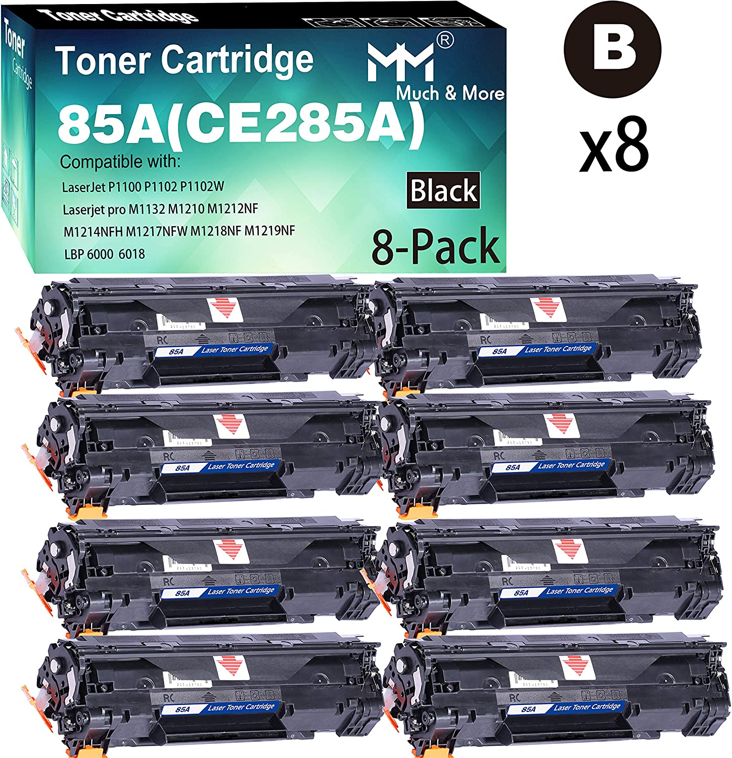 (8-Pack) Compatible 285 CE285A 285A Toner Cartridge 85A Used for HP Laserjet P1100 P1102 P1102W pro M1210 M1212NF M1219NF Printer, Sold by MuchMore