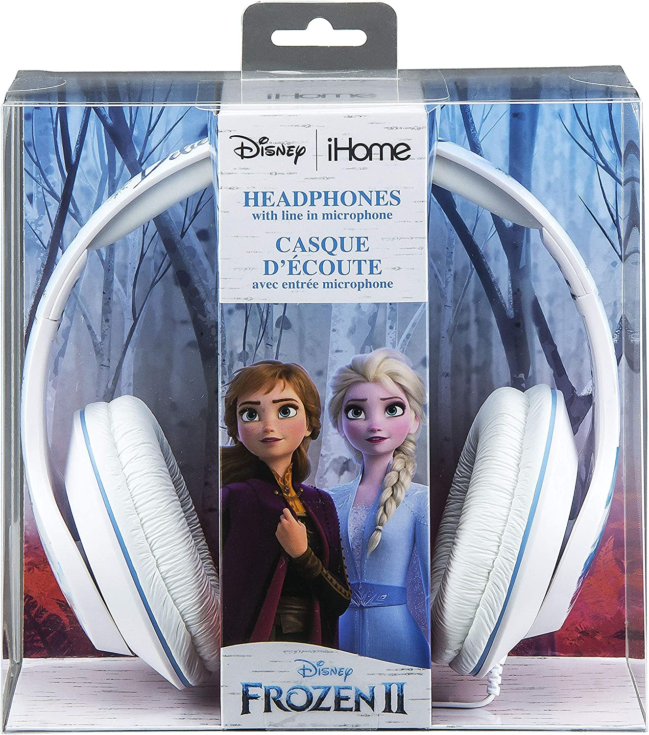 Frozen 2 Kids Headphones with Microphone, Adjustable Headband, Stereo Sound, 3.5mm Jack, Wired Headphones For Kids, Tangle-Free, Volume Control, Foldable, Childrens Headphones on ear, School Home, Tra