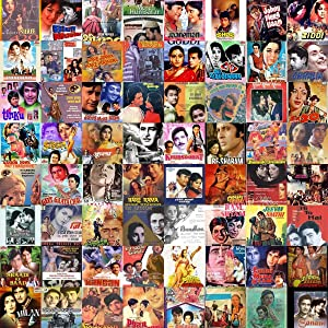 Gifts Delight Laminated 22x22 Poster: at The Edge Collage of Old Hindi Movie Posters Based on a Song
