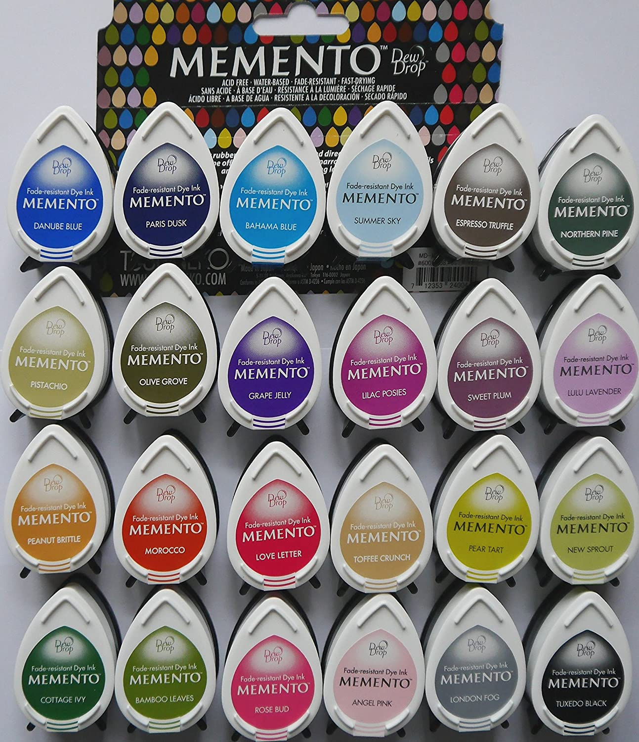 Tsukineko MEMENTO dew drop INK PADS BARGAIN OFFER Set of 24 different colours by Tsukineko