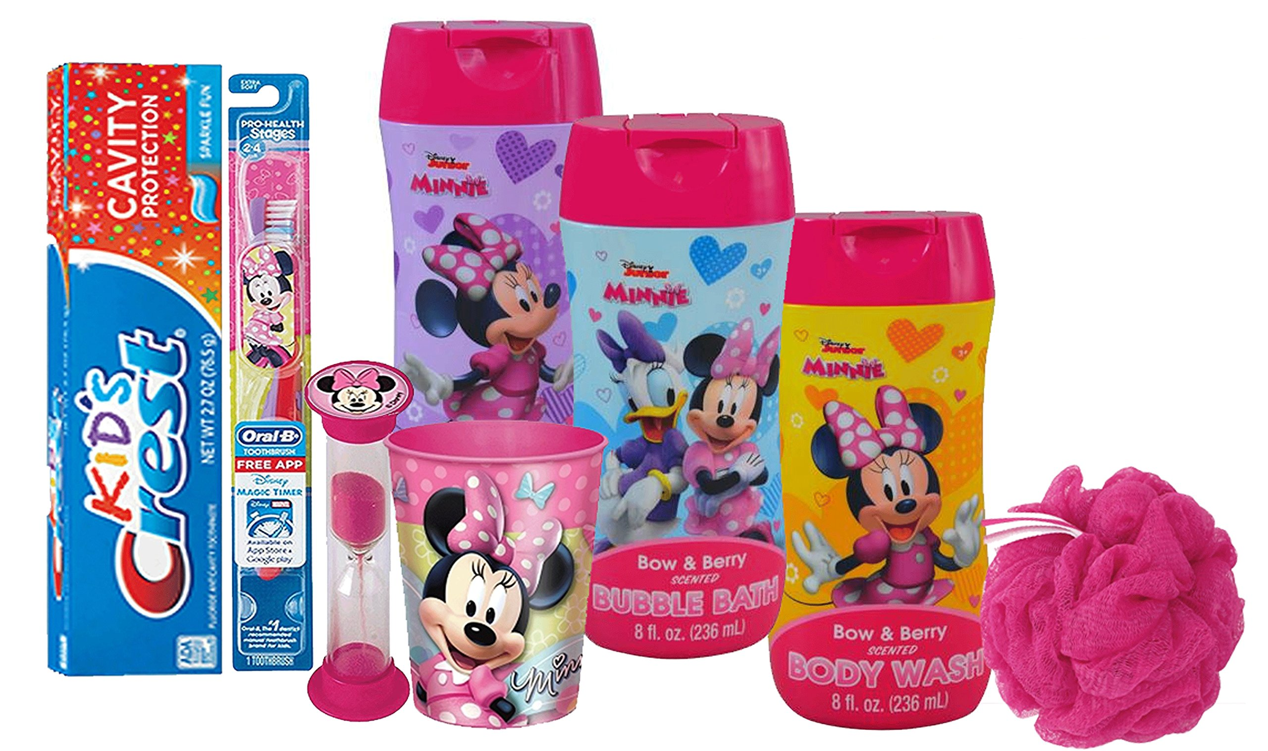 Disney Minnie Mouse Girl's All Inclusive Bath Time Gift Set! Includes Body Wash, Shampoo, Bubble Bath, Toothbrush, Toothpaste, Brushing Timer & Mouthwash Rinse Cup!