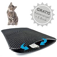 Haustierbote Premium Katzenstreumatte - Wasserdichte Katzenklo Unterlage mit effizientem Bienenwabendesign - 75x55cm + GRATIS E-Book & KATZENANGEL
