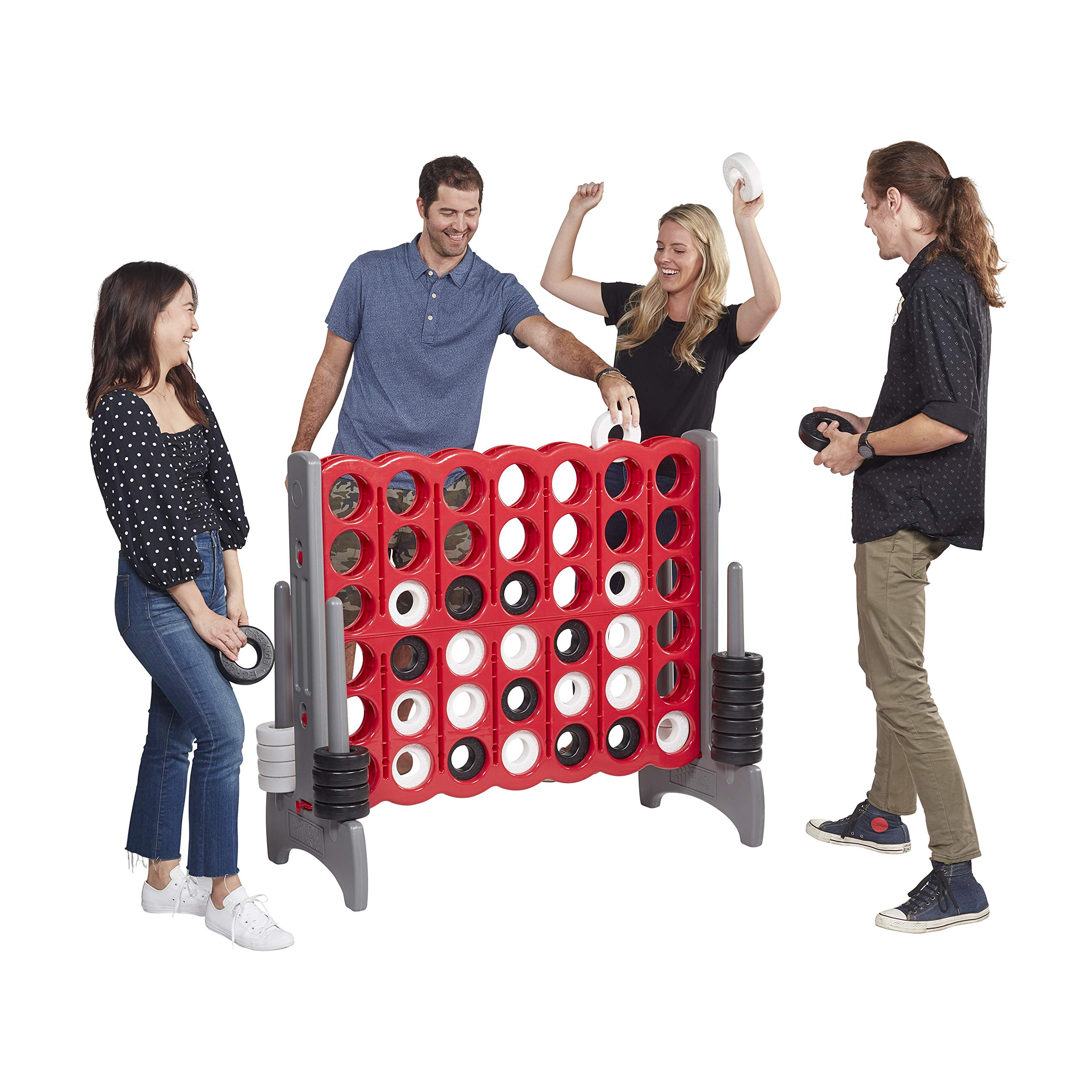 ECR4Kids Jumbo 4-to-Score Giant Game Set - Oversized 4-in-A-Row Fun for Kids, Adults and Families - Indoors/Outdoor Yard Play - 4 Feet Tall - Red and Gray