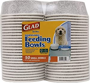 Glad for Pets Disposable Feeding Bowls   Small Dog Bowls in Gray Pattern   1.75 Cup Feeding Size, 50 Count - Dog Bowls are Great for Dry and Wet Dog Food or Water (FF12275)