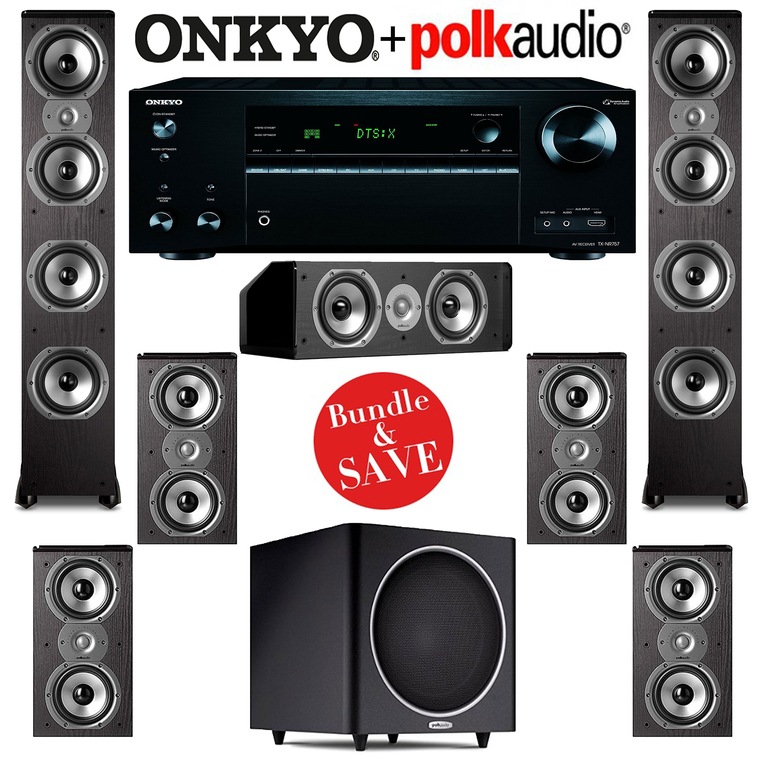 Polk Audio TSi 500 7.1 Home Theater Speaker System with Onkyo TX-NR757 7.2-Ch Network AV Receiver