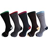 RC. ROYAL CLASS Men's Cotton Calf Length Ribbed Formal Socks (Multicolour, Free Size) -Pack of 5 Pairs