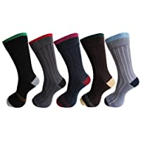 RC. ROYAL CLASS Men's Cotton Calf Length Ribbed Formal Socks (Multicolour, JHFRACERTIPPING-5PAIRS) - Pack of 5 Pairs