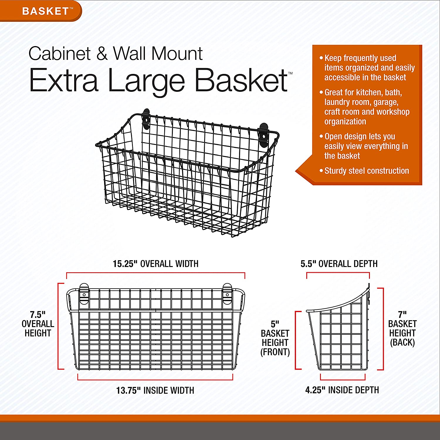 Spectrum Diversified Vintage Extra Large Cabinet & Wall-Mounted Basket for Storage & Organization Rustic Farmhouse Decor, Sturdy Steel Wire Storage...
