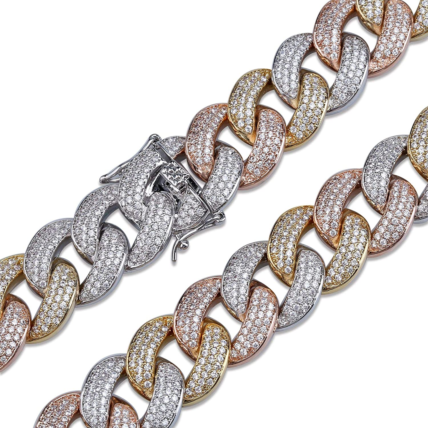 AOVR Hip Hop Mens 10-28mm Miami Chain 18K Gold Plated Fully Iced-Out CZ Crystal Bling Bling Necklace