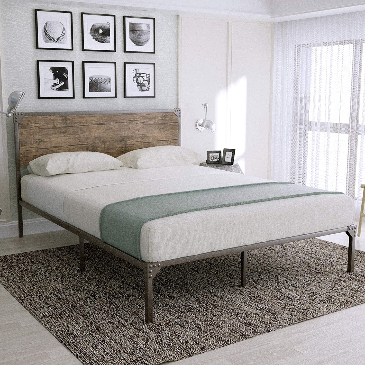 Urest Industrial Queen Size Bed Frame with Headboard Metal Platform Bed Frame Mattress Foundation Strong Slat Support No Box Spring Needed, Snow Brown
