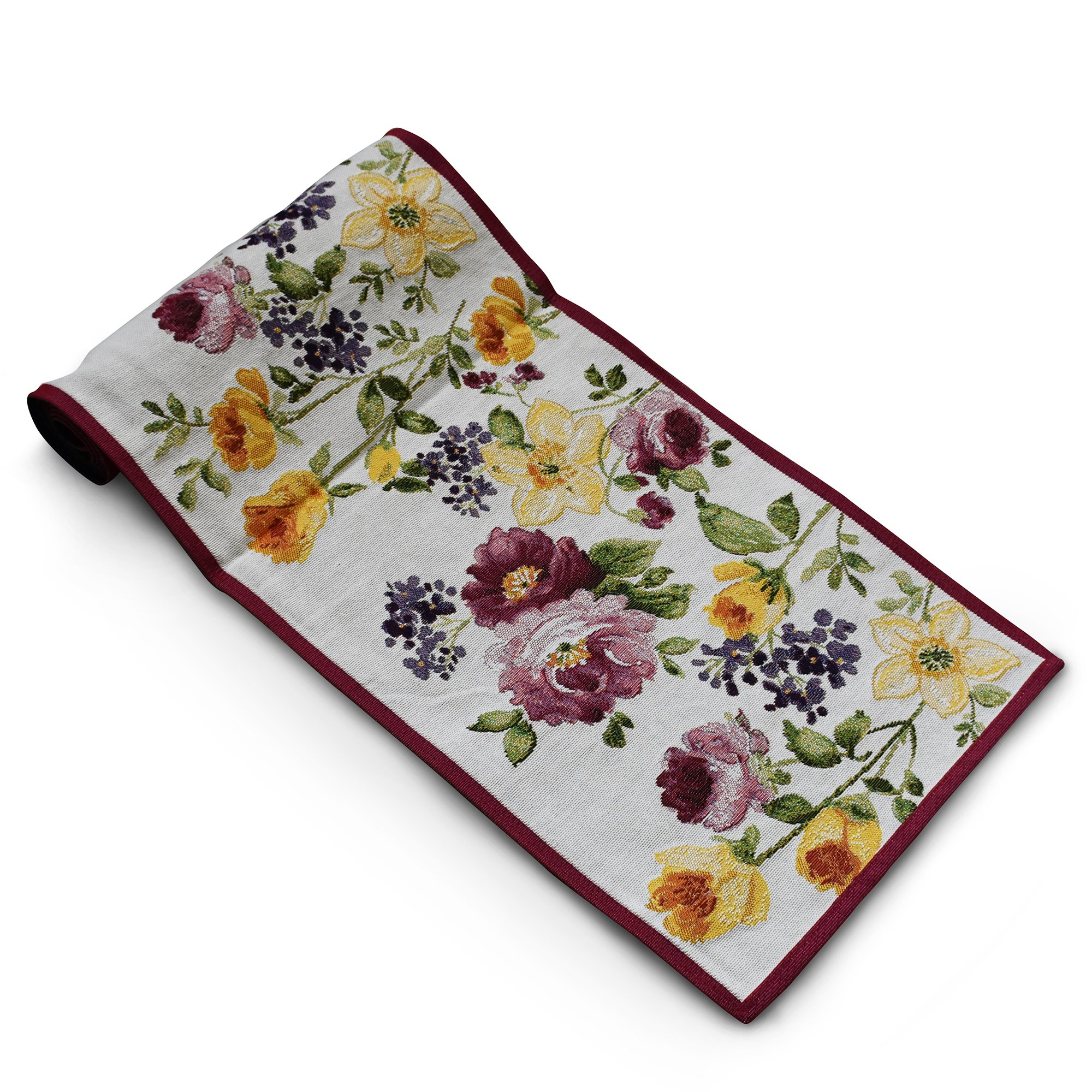 """Homvare Machine Washable, Everyday Tapestry Kitchen Table Runner for Dinner Parties, Events, Decor 13""""x72"""" Rose Garden"""