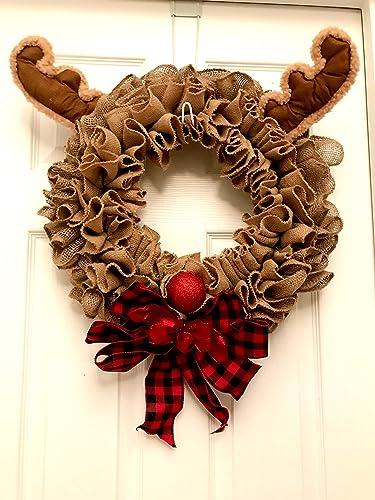 christmas wreath rudolph wreath rudolph the red nosed reindeer christmas burlap wreath - Christmas Burlap Wreath