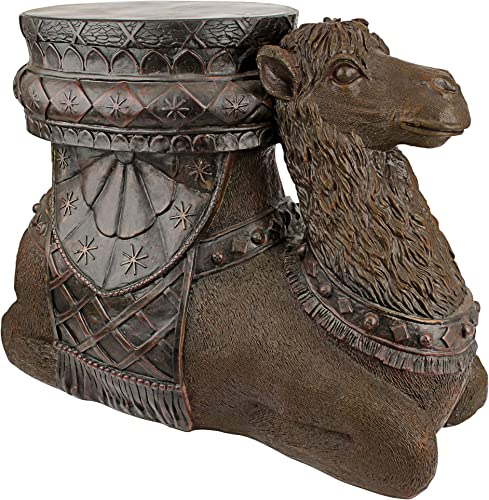 Design Toscano Kasbah Camel Boho Decor Side Table, 21 Inch, Polyresin, Woodtone