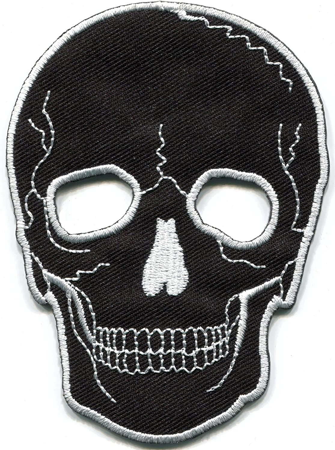 Skull tattoo horror biker goth emo punk rock metal embroidered applique iron-on patch new by TKPatch