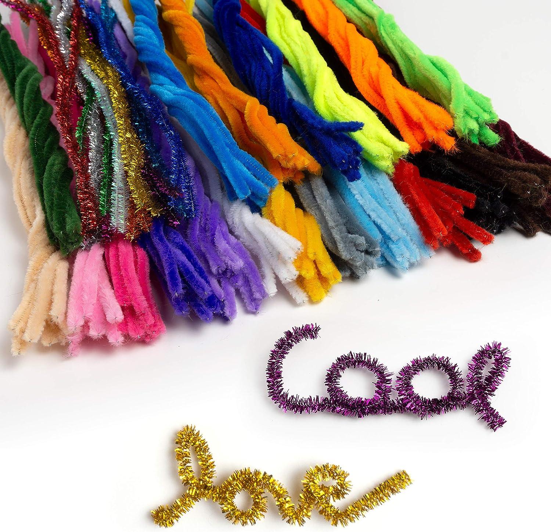 OfficeTree Limpiapipas Manualidades - 220 Pipe Cleaners Coloridos para Hacer Manualidades - 30 Colores con Colores Brillantes Incluidos - Para niños DIY Decoración