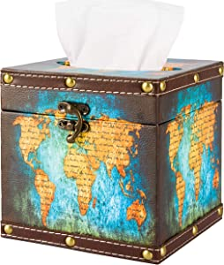 BREIS Retro Tissue Box Cover Holder,Square Waterproof Wooden Vintage Holder Tissue Box Cover Case Napkin Dispenser Fit Office Kitchen Car Bath Living (map)