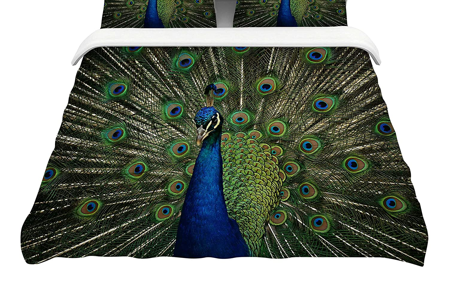 Kess InHouse Angie Turner Proud Peacock Featherweight Queen Duvet Cover, 88 x 88,