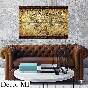 Decor Mi Vintage World Map Canvas Wall Art Retro Map Of The World Canvas  Prints Framed